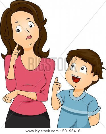 Illustration of a Confused Mom Thinking About How to Respond to Her Son's Questions