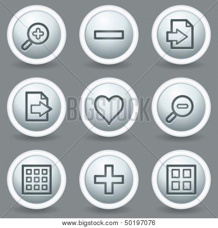 Image viewer web icons set 1, circle grey matt buttons