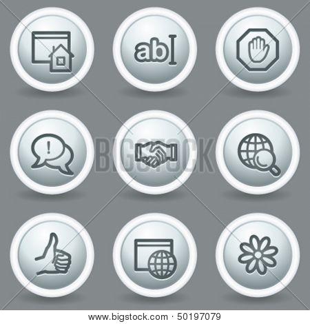Internet  web icons set 1, circle grey matt buttons