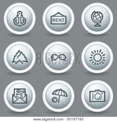 Travel web icons set 5, circle grey matt buttons