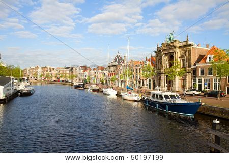 Spaarne river and old Haarlem