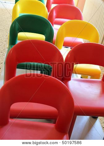 Nice Little Chairs On The Tables Of The Refectory Of Asylum 5