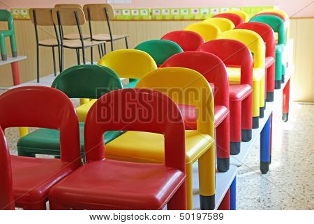 Little Chairs On The Tables Of The Refectory Of Asylum 7