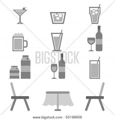Drinks Icons In Restaurant On White Background