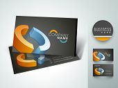 Elegant professional and designer business card set or visiting card set in blue and orange color.