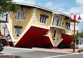 Niagara Falls, Canada - Aug 4: Attraction Upside Down House On Clifton Hill In Niagara Falls, Canada