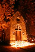 stock photo of burial-vault  - A photo of cemetery by night in all saints day - JPG