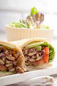 picture of shawarma  - kafta shawarma chicken pita wrap roll sandwich traditional arab mid east food