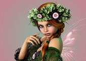 stock photo of fairyland  - 3D computer graphics of a girl with a wreath of flowers in her hair - JPG