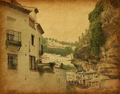Grunge image of Street in Setenil. Setenil de las Bodegas is a town  in the province of Cadiz, Spain