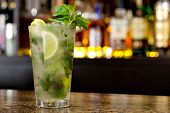 pic of mojito  - Mojito cocktail on the background of the bar - JPG