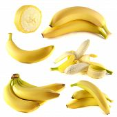 stock photo of banana  - Bananas collection isolated on white background  - JPG