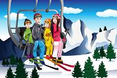 stock photo of family ski vacation  - A vector illustration of happy family going skiing sitting on a ski lift - JPG