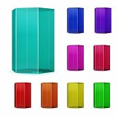 picture of prism  - Set of multicolored glass or plastic prisms - JPG