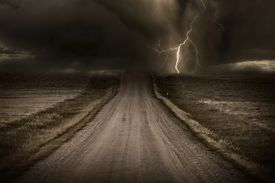 picture of unsafe  - Stormy Back Country Road - JPG
