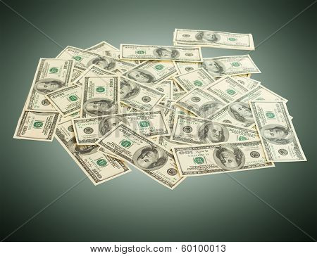 Lot of cash dollars as background