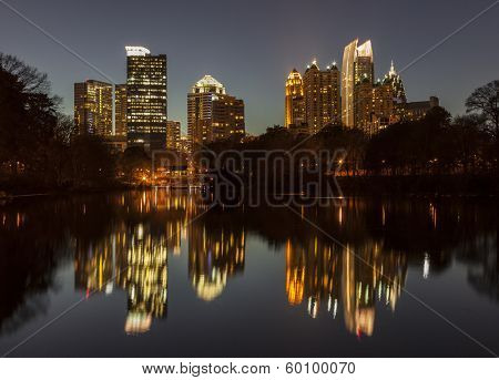 Night view of midtown Atlanta from Piedmont park.