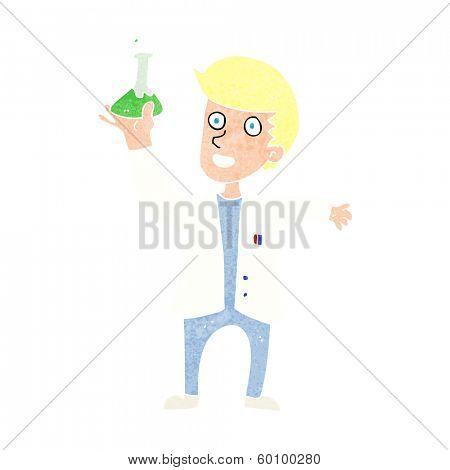 cartoon happy scientist