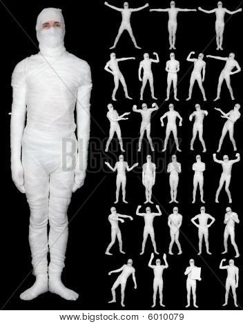 Collection Of Terrible Bandaged Mummies Isolated On Black Background