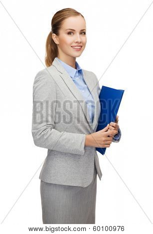 business and office concept - smiling businesswoman with folder