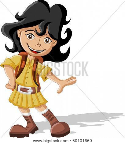 Cute playful cartoon girl in explorer outfit