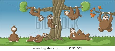 Group of cartoon brown sloths around a tree