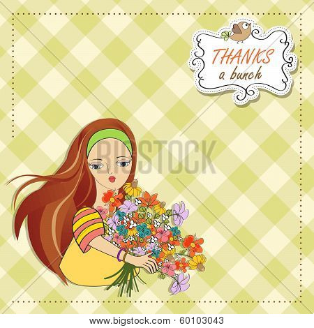 Young Girl With A Bunch Of Flowers - Thanks a bunch