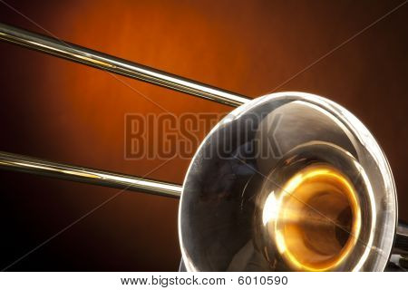 Trombone Isolated On Gold