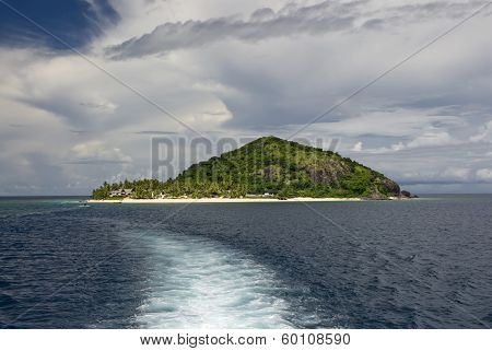 Wake from boat leaving Matamanoa island, Mamanuca Group, Fiji