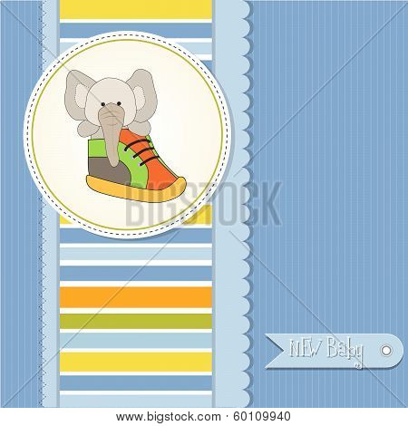 Shower Card With An Elephant Hidden In A Shoe