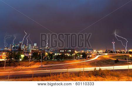 Denver, Colorado - Downtown Skyline During Lightning Storm