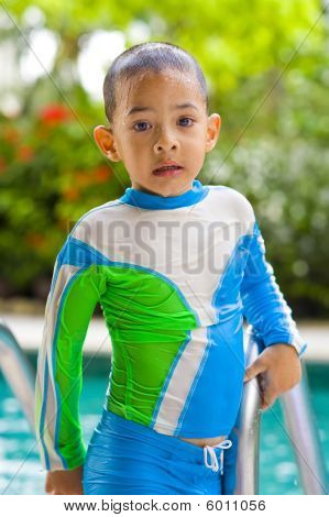 Kid With Fancy Swimsuit