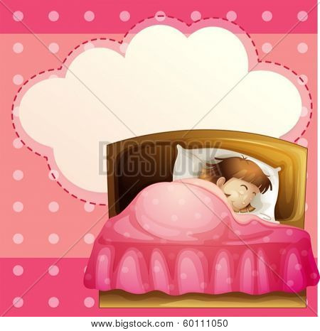 Illustration of a girl sleeping in her bedroom soundly with an empty callout