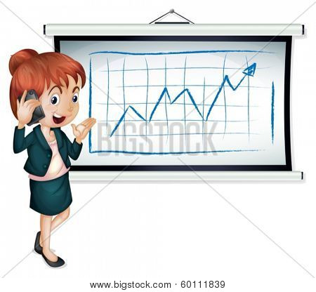 Illustration of a businesswoman using a cellphone in front of the bulletin board on a white background