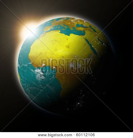 Sun Over Africa On Planet Earth