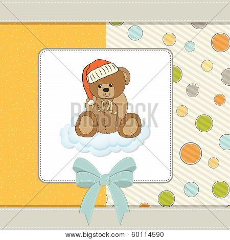 Customizable Greeting Card With Teddy Bear