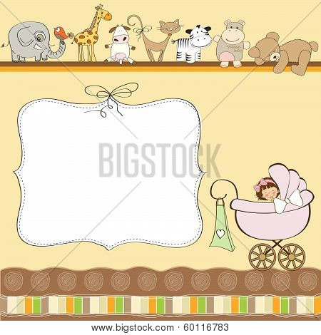 New Baby Girl Announcement Card With Pram