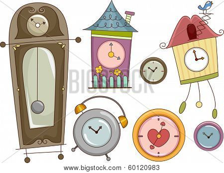 Illustration Featuring Colorful Clocks with Different Designs