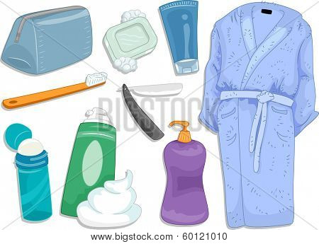 Illustration Featuring Different Items and Toiletries Commonly Used When Taking a Bath