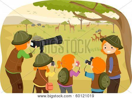 Illustration of a Family Enjoying a Safari Tour