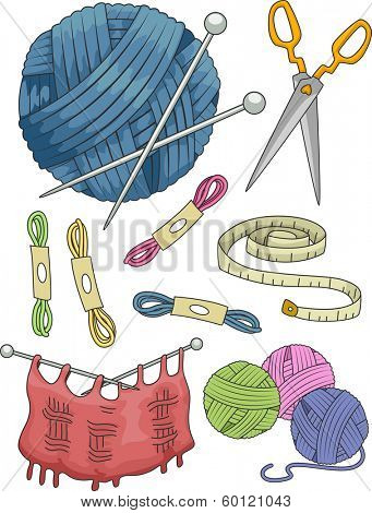 Illustration Featuring Different Items Commonly Used in Knitting