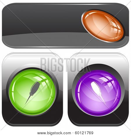 Awl. Internet buttons. Raster illustration.