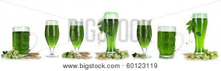 Collage of green beer, isolated on white. St. Patrick's Day