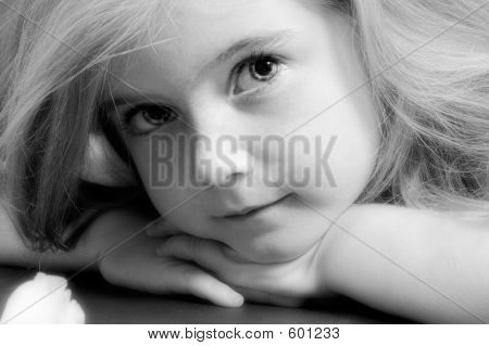 Blond Girl In Black And White