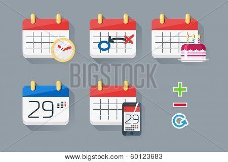 Calendar icons set / Flat style