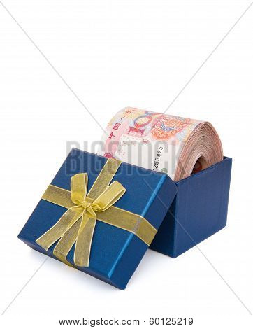 Big Stack Of Rmb In A Blue Present Box With Clipping Path Vertical