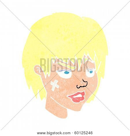 cartoon woman with plaster on face