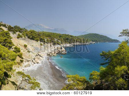 Panoramic view of Mediterranean coastline in Oludeniz, Turkey