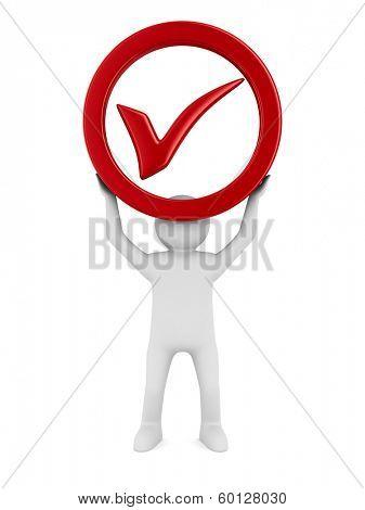 Symbol ok on white background. Isolated 3D image