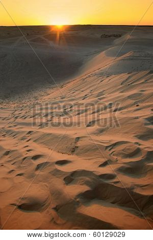 Sunset With Sahara Dunes